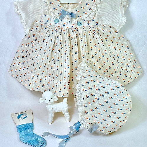 "1940s Original Effanbee 15"" Dy-Dee Dress Set - Blue Print"