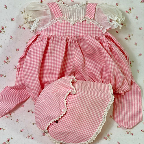 """Vintage 1950's PARTY Gingham Sunsuit Set for 15"""" Tiny Tears and Dy-Dee Baby Doll"""