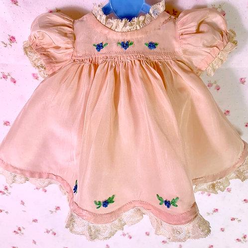 "Gorgeous 1930s Vintage 11"" Dy-Dee Ette Pink Silk Dress Slip and Socks"