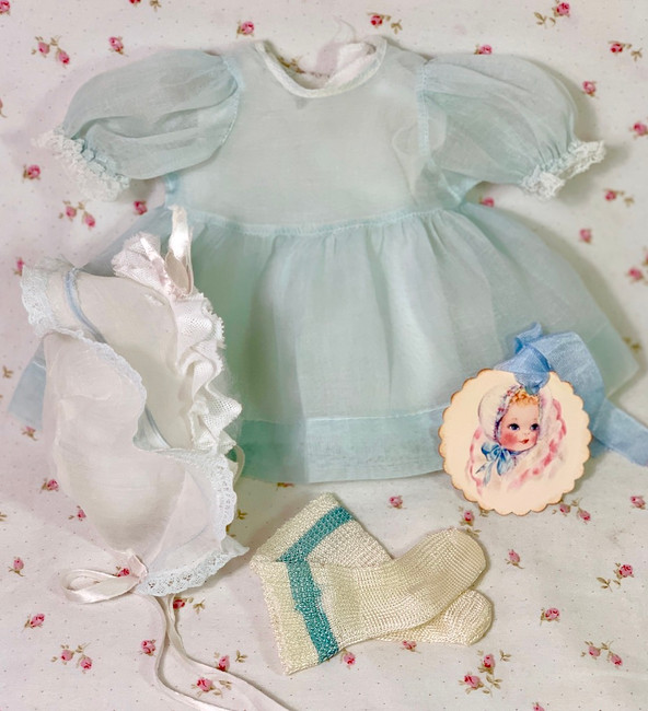 """Vintage Blue Organdy Easter Dress Set for 13"""" to 14"""" Tiny Tears and Friends"""