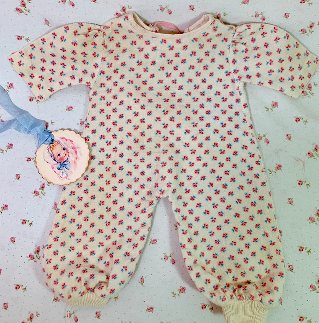 "Vintage Cosy Flannel Baby Doll Pajamas for 13"" to 14"" Dolls"