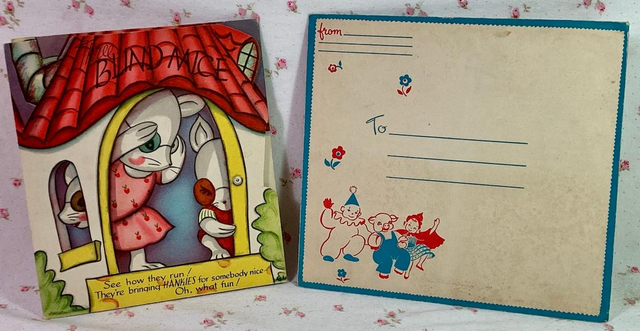 "Vintage Childs Handkerchief (3) Greeting Card ""3 Blind Mice"" w/envelope MINT"