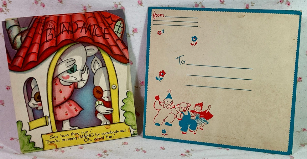 "Vintage Childs Handkerchief (3) Greeting Card ""3 Blind Mice"" w/envelope MINT"