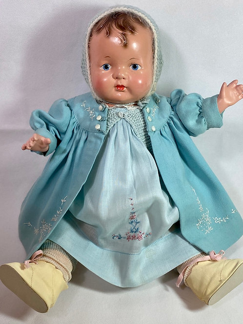 """1925 Effanbee 18"""" Baby Evelyn Composition Doll -- Rare Painted Eye"""