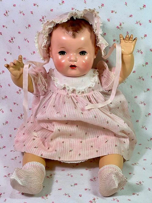 """Pink Flowers Dimity Dress and Bonnet for 20"""" Dy-Dee Lou Tiny Tears"""