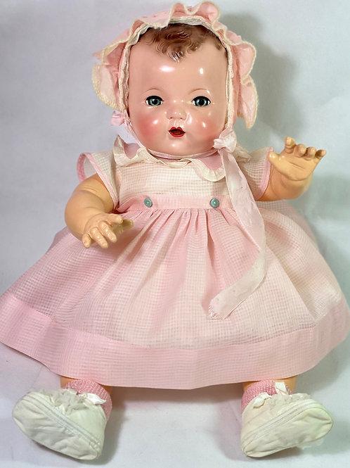 "1940s Original Effanbee 20"" Dy-Dee Lou Dress Set -- Baby Pink Windowpane"