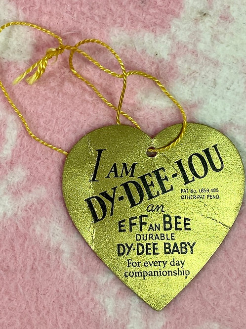 """RARE Early 1930s Effanbee 20"""" Dy-Dee Lou Doll Golden Hang Tag"""