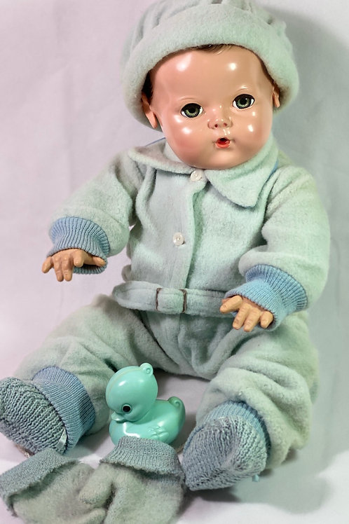 "Vintage 1940s Original Effanbee 20"" Dy-Dee Lou Aqua Blue Snowsuit"