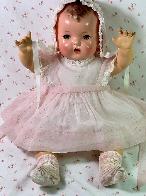 Vintage Effanbee Dy-Dee Lou Pink Flocked Dotted Swiss Pinafore Set
