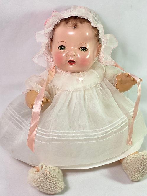 """1940s Original Effanbee 15"""" Dy-Dee Jane Dress Set -- White Organdy"""
