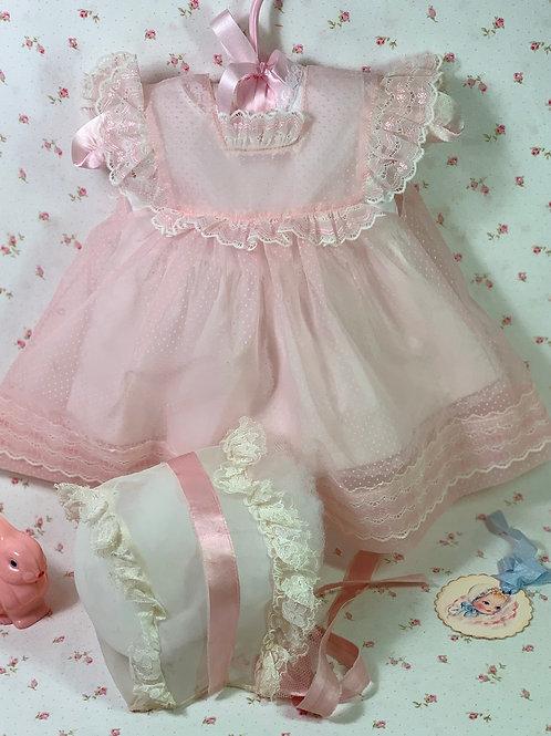 Vintage Effanbee Dy-Dee Lou Pink Flocked Dotted Swiss Dress Set