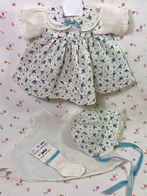 """Vintage 1940's Original Effanbee 15"""" Dy-Dee Jane Blue Flowers Dress Set"""