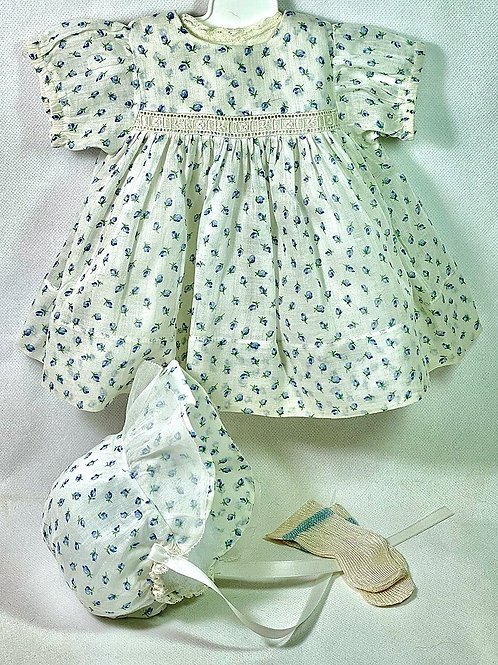 "1930s Original Effanbee 15"" Dy-Dee Dress Set - Blue Flowers"