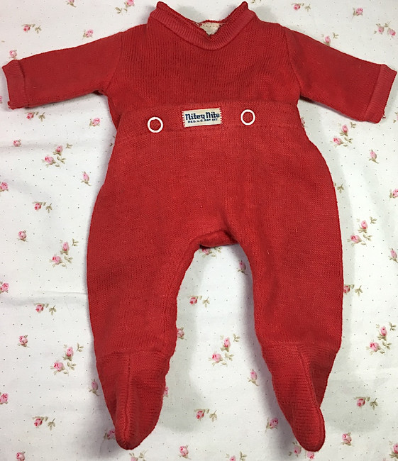 """Vintage Red NITEY NITE Pajamas for 13"""" to 14"""" Tiny Tears and Friend"""