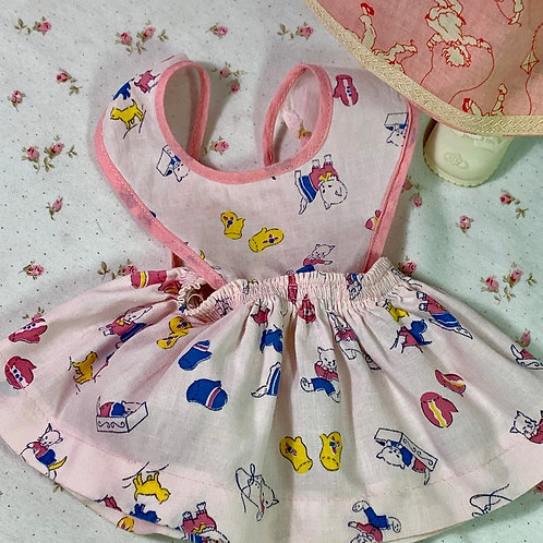 "TWO Vintage 1940s 13"" to 14"" Baby Doll Pinafore / Aprons"