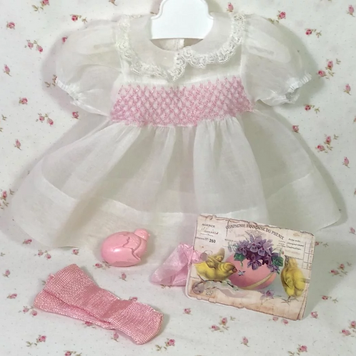 "Easter WHITE Organdy for Effanbee 15""Dy-Dee Jane or Tiny Tears Baby -- New"