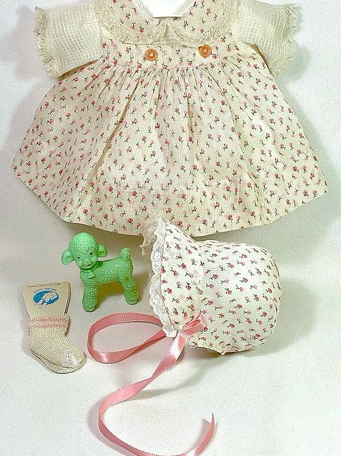 """1940s Original Effanbee 15"""" Dy-Dee Dress Set -- Pink Flowers"""
