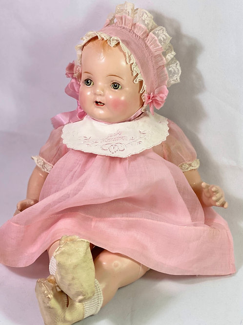"""1930 Vintage 19"""" Madame Hendren Composition BABY HENDREN Doll w/ 2 Outfits"""