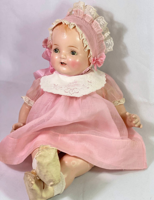 "1930 Vintage 19"" Madame Hendren Composition BABY HENDREN Doll w/ 2 Outfits"