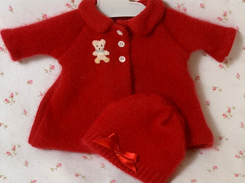 """Vintage RED Angora Wool Coat and Bonnet for 13"""" to 15"""" Dy-Dee Tiny Tears"""
