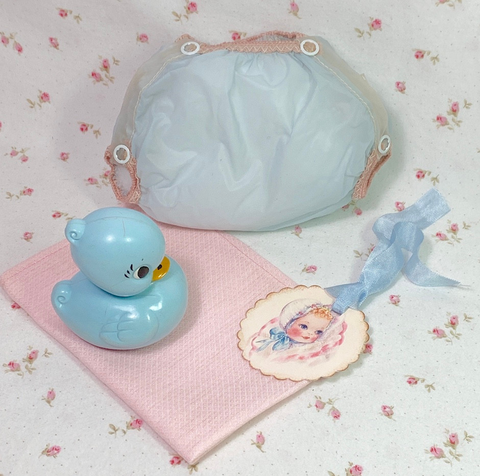 Vintage 1950's Blue RUBBER PANTS and Pink Birdseye Weave Medium Diaper Set