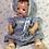 """Thumbnail: Effanbee 15"""" Dy-Dee Jane Blue Print FACTORY ORIGINAL Sun Suit and Bonnet"""