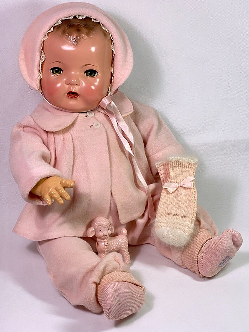 "RARE Vintage Effanbee Factory PINK EIDERDOWN Snowsuit for 20"" Dy-Dee Lou"