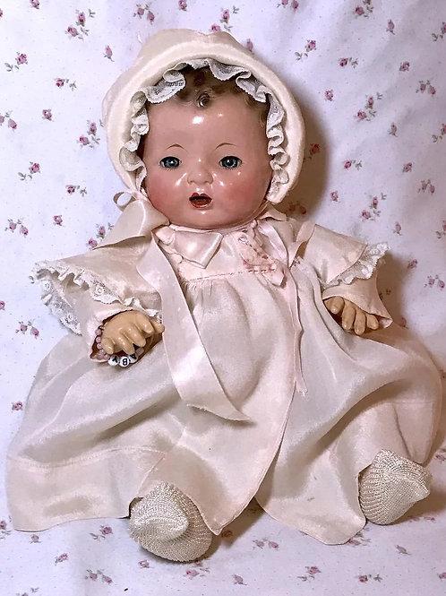 Vintage 1930's Effanbee Dy-Dee FAO Schwartz Silk Coat Bonnet Set