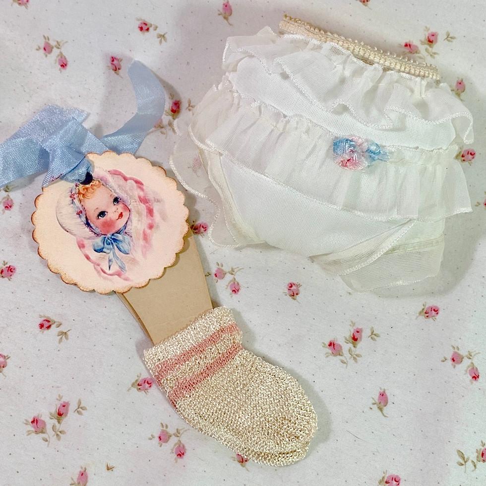 Vintage Organdy Party Underwear Set for Medium Size Dolls