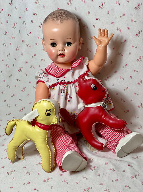1950s Hol-Le Soft Vinyl Dog and Lamb Toys with Tags