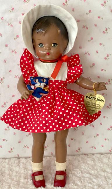 "RARE 1940s Effanbee Patsy Joan 15"" All Original Black African American Doll"