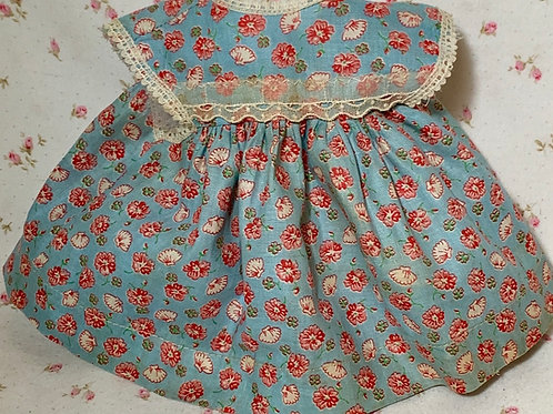 """Vintage 1940s 13"""" to 14"""" Blue Flowers Baby Doll Dress Only -- MINT"""