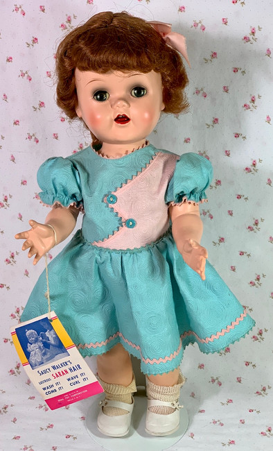"""MINT 1950s Vintage 16"""" Saucy Walker Doll with Hang Tag"""