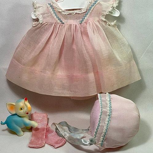 "1940s Original Effanbee 15"" Dy-Dee Dress Set - Pink Organdy"