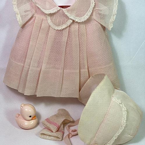 """1940s Original 15"""" Dy-Dee Dress Set-- Light Pink Dotted Swiss"""