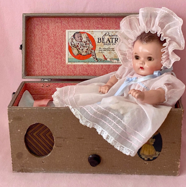 "1930s Vintage 14"" Princess Beatrix Baby Doll in Music Box Case"