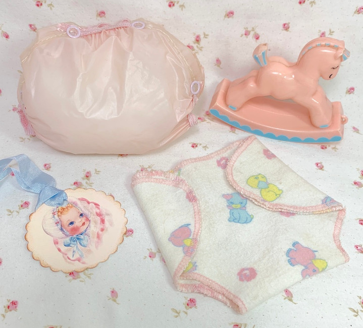 Vintage 1950's Pink RUBBER PANTS and Tiny Tears Doll Flannel Diaper Set