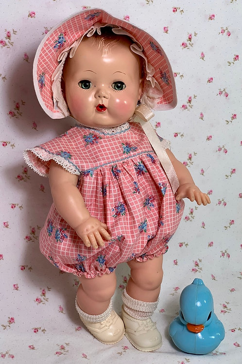 "Vintage 1940s 13"" to 14"" Pink Flowers Baby Doll Romper Set -- MINT"