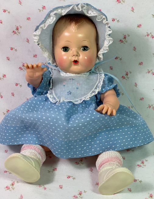 "1950's Blue Dotted Swiss Dress Set for 13.5"" Tiny Tears Baby Doll"