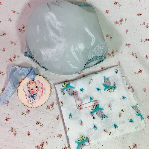 """Vintage 1950s Blue Rubber Pants and Print Diaper for 15"""" to 16"""" Dolls"""