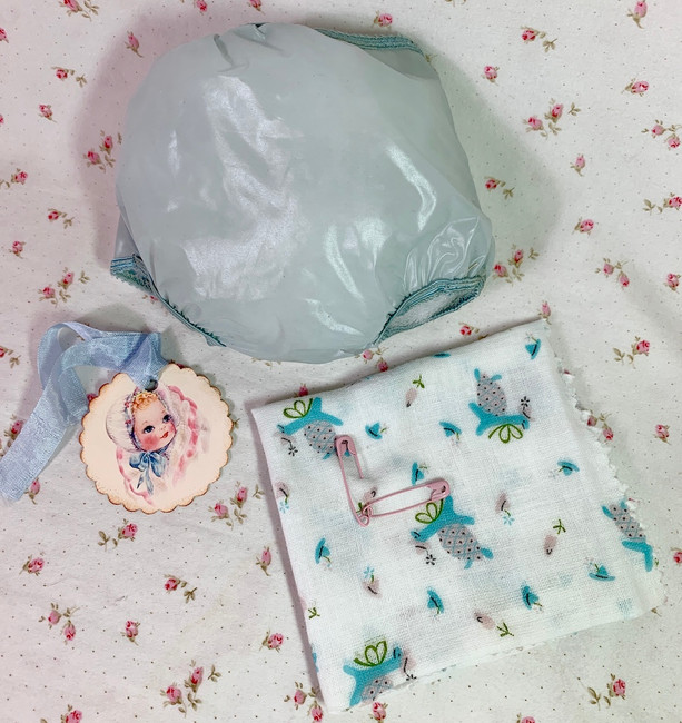 "Vintage 1950s Blue Rubber Pants and Print Diaper for 15"" to 16"" Dolls"