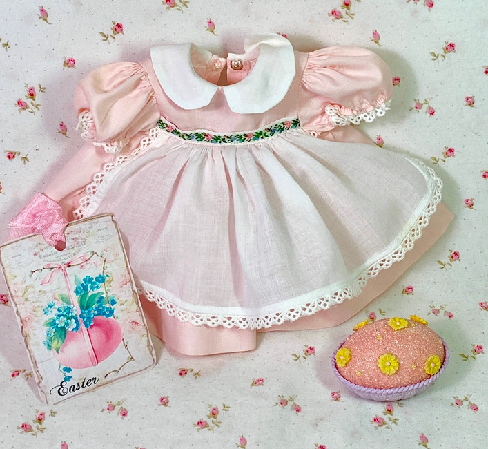 "Vintage 1950s Pink Party Dress for 13"" to 14"" Dolls"