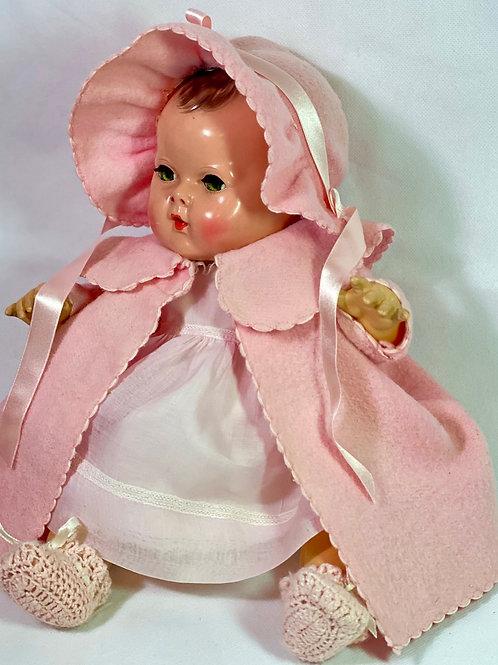 "1930s Vintage 15"" Effanbee Dy-Dee Pink EIDERDOWN Coat Set #3"
