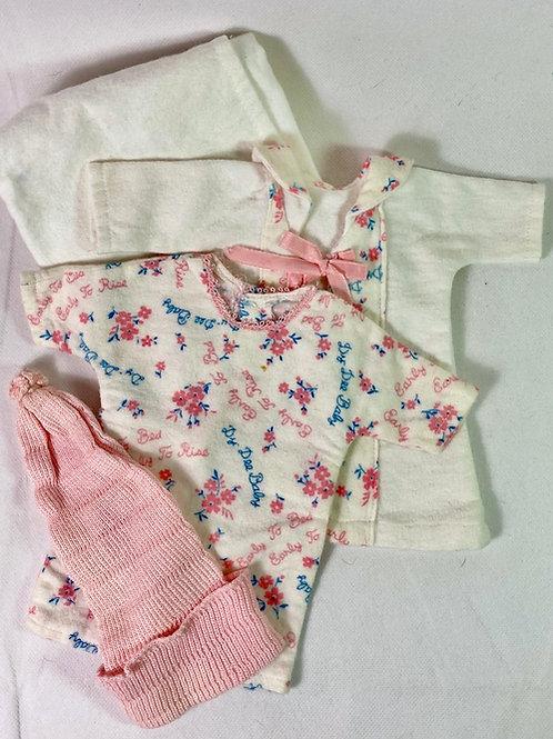 """Vintage 1930's Effanbee 11"""" Dy-Dee Ette Doll Robe, Pajamas, Pinning Blanket"""