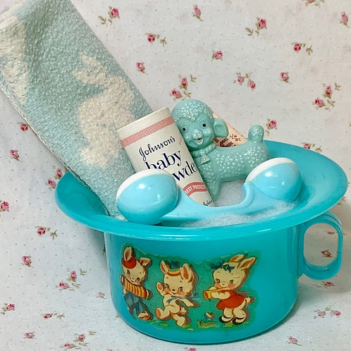 "Vintage Dy-dee Tiny Tears Blue Bunny Rabbits Potty with ""Essentials"""