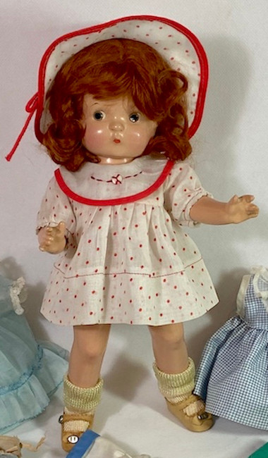 "1930s Effanbee 11"" Patsy Kin / Patsy Jr Original Red Polka Dot Dress Set"