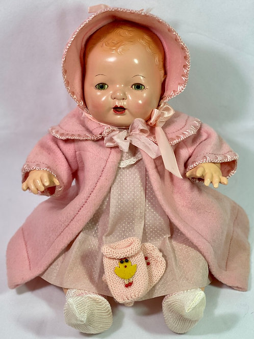 "1930s Vintage 15"" Effanbee Dy-Dee Pink EIDERDOWN Coat Set"