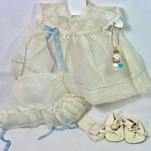 """1940s Original MINT in Box Effanbee 15"""" Dy-Dee Dress Set -- White Organdy"""