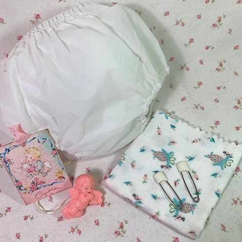 """Vintage Layette RUBBER PANTS and Curity Print Diaper Dy-Dee Tiny Tears 18"""""""