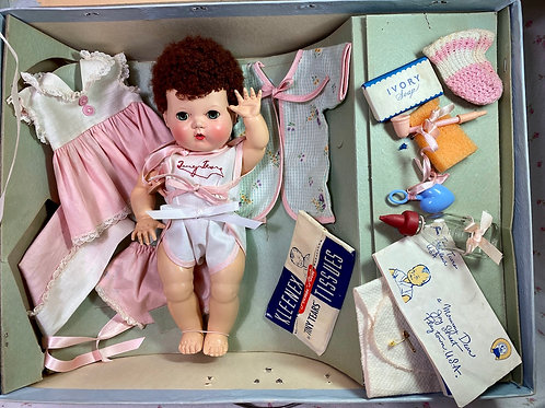 """Vintage 1950s American Character 11"""" Tiny Tears Baby Doll Mint in Box"""